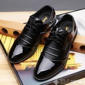 紳士鞋2020新款內增高6cm男鞋正裝皮鞋漆皮英倫拼接商務休閒鞋紳士單鞋 潮人