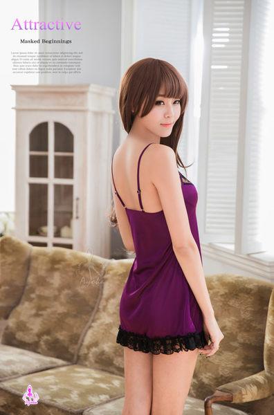 性感睡衣 浪漫深紫蕾絲滾邊睡衣 (OS shop)