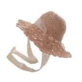 草帽-草編蕾絲帶子可摺疊女遮陽帽4色73vq20【時尚巴黎】