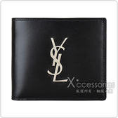 YSL Monogram銀字LOGO小牛皮8卡對折短夾(黑)
