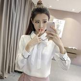 售完即止-襯衫新款女裝白襯衫女長袖雪紡上衣寬鬆百搭韓版學生打底襯衣11-29(庫存清出T)