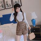VK精品服飾 韓國風名媛修身針織衫氣質背帶短褲套裝長袖褲裝