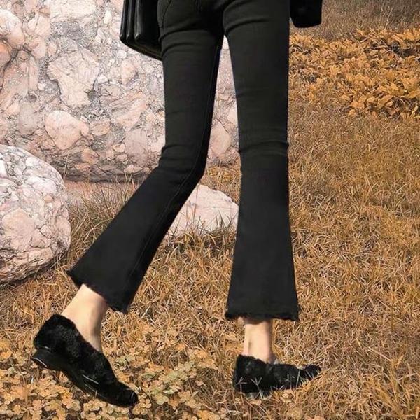 喇叭褲 黑色微喇叭牛仔褲女2021年春裝新款寬鬆高腰顯瘦百搭小個子褲子 伊蒂斯