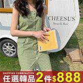 任選2件888連身裙韓版休閒小清新鈕扣格子吊帶連身裙【08G-M0880】