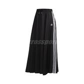 adidas 長裙 Original Skirt 黑 白 女款 緞面 運動休閒 【ACS】 FL0039