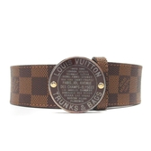 LOUIS VUITTON LV 路易威登 棋盤格復古棕色圓釦皮帶 Trunks Bags Belt 80【BRANDOFF】