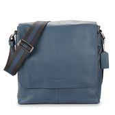 COACH 烙印LOGO 荔枝紋皮革黑藍織帶男用翻蓋斜背方包(丹寧藍)196049-2