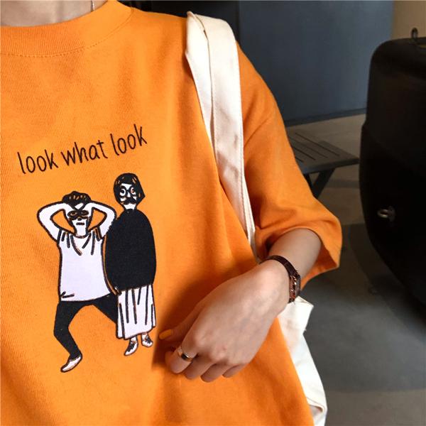 韓系女裝 卡通印花短袖T恤 【C0647】韓妞穿搭必備 阿華有事嗎