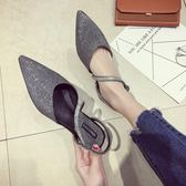 涼鞋女夏2018新款鞋子復古時尚百搭平底尖頭港味包頭羅馬鞋潮