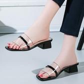 降價兩天 韓版百搭涼拖鞋女2020夏季新款透明一字型拖鞋時尚外穿粗跟女鞋潮