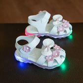 1歲亮帶燈夏季兒童涼鞋女童鞋女寶寶鞋子軟底學步鞋嬰兒鞋公主鞋