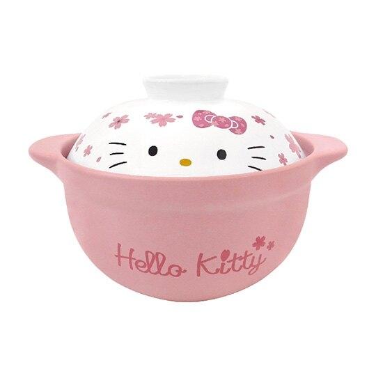 小禮堂 Hello Kitty 高耐熱陶瓷鍋 湯鍋 燉鍋 砂鍋 耐熱鍋 1500ml (粉白 櫻花) 4713218-89820