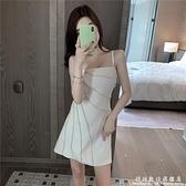 重工白色甜美吊帶裙子女裝夏季新款性感法式初戀一字肩洋裝 科炫數位