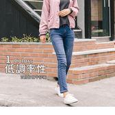 OB嚴選《BA1777-》彈性雙排釦刷色破損感牛仔褲--適 S~XL