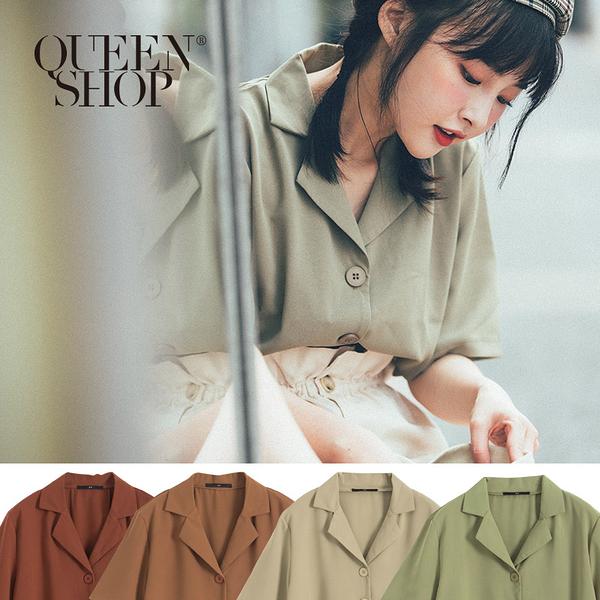 Queen Shop【01023514】排釦造型五分袖上衣 四色售*現+預*