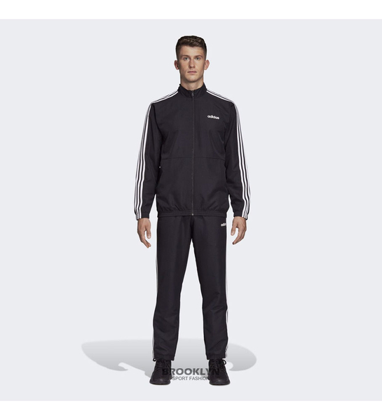 ADIDAS 運動套裝 (外套加長褲) 3-STRIPES WOVEN CUFFED 黑白 基本 男 (布魯克林) DV2464