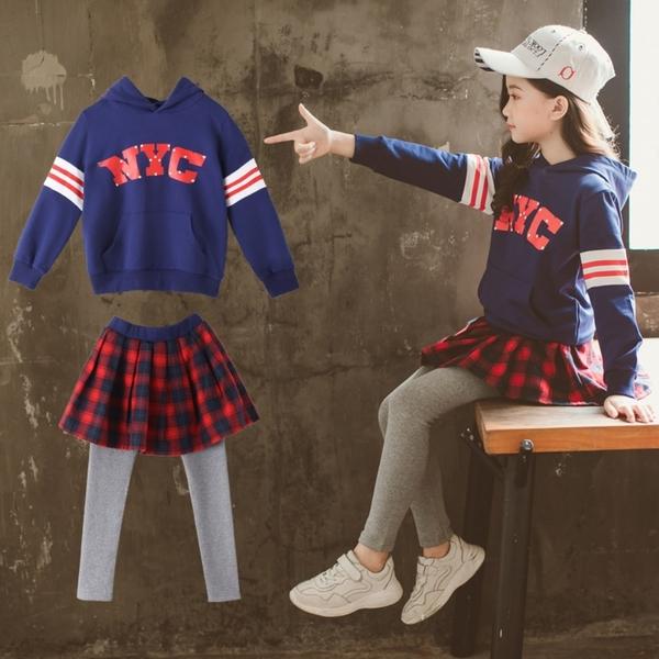 *╮S13小衣衫╭*中大童連帽長袖運動衣紅格子短裙長褲套裝1080924