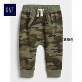 Gap男嬰兒 迷彩印花休閒收腳褲 寶寶鬆緊腰運動褲374291-軍綠色