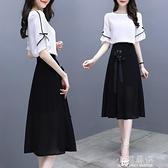 超仙的法國小眾襯衫半身裙套裝女夏流行洋氣中長裙小香風兩件套潮『小淇嚴選』