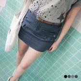 OrangeBear《BA2476》附皮帶釦飾打褶口袋安全褲內裡短裙.4色