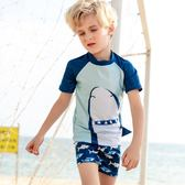 男童泳裝 泳衣年 鯊魚印花男童分體 速干兒童游-小精靈生活館