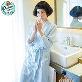 睡袍女華夫格浴衣薄款浴袍簡約可愛家居服七分袖睡衣 最低價促銷