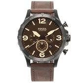 FOSSIL 三眼計時黑鋼大錶盤復古皮革男腕錶50mm(JR1487)270544