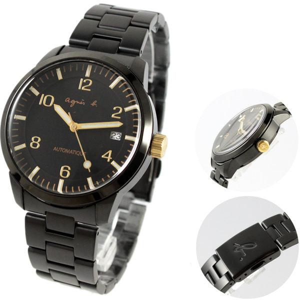 【萬年鐘錶】agnes b. 法式時尚風 機械腕錶 IP鍍黑鋼帶 黑殼 黑錶面  金字 40mm Y675-00J0G(BK9010J1)