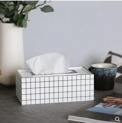 【黑白格紋】have簡約創意紙巾盒客廳餐巾紙抽盒收納盒