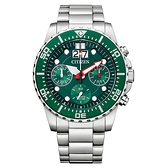 CITIZEN 極速領域三眼計時腕錶-銀X綠