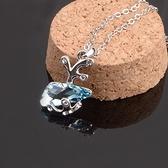 925純銀項鍊 鑲鑽吊墜-水晶小魚生日情人節禮物女飾品4色73aj192【巴黎精品】