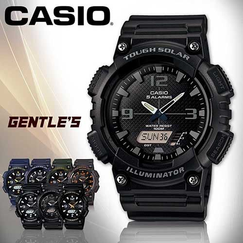 CASIO 卡西歐手錶專賣店 AQ-S810W-1A2 男錶 黑面灰框 雙顯錶 橡膠錶帶 太陽能 鬧鈴 倒數計時 LED