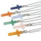 天然水晶玉石可愛小十字架吊墜項鍊