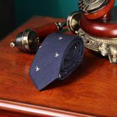 618好康鉅惠 英倫羊毛海鷗藍刺繡花男士領帶正裝商務領帶