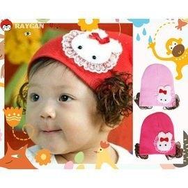 可愛蝴蝶結兔子蕾絲花邊假髮寶寶帽/護耳帽(三色)