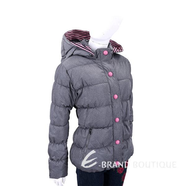 EMPORIO ARMANI 條紋細節連帽灰色科技棉絎縫保暖外套 1840622-06