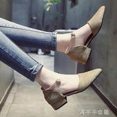包頭涼鞋女新款韓版金屬扣淺口高跟鞋粗跟中跟絨面鞋子潮「千千女鞋」