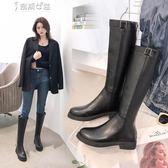 靴子皮靴女長靴單靴粗跟加絨高筒騎士靴 奈斯女裝