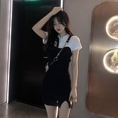 裙子2021新款法式假兩件設計感短袖氣質洋裝夏季收腰包臀短裙女 【Ifashion】