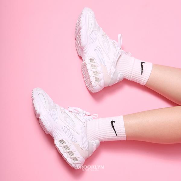 NIKE 休閒鞋 ZOOM AIR FIRE 全白色 小STUSSY 老爹鞋 氣墊 女 (布魯克林) CW3876-002