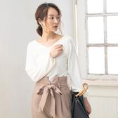 東京著衣-夢展望-大V領縮袖口針織長袖上衣-M.L(4190103)