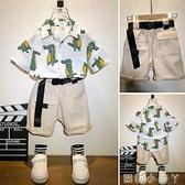 兒童短袖套裝2021夏裝新款男童時髦寶寶洋氣襯衫夏季帥氣兩件套潮 蘿莉新品