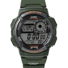 CASIO卡西歐世界時間軍綠膠錶 柒彩年代【NEC48】