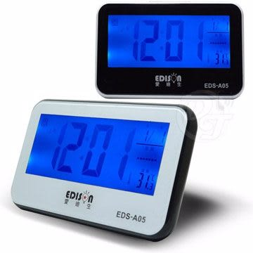 《一打就通》愛迪生感應背光LCD語音報時萬年曆電子鐘 EDS-A05 可加購電池