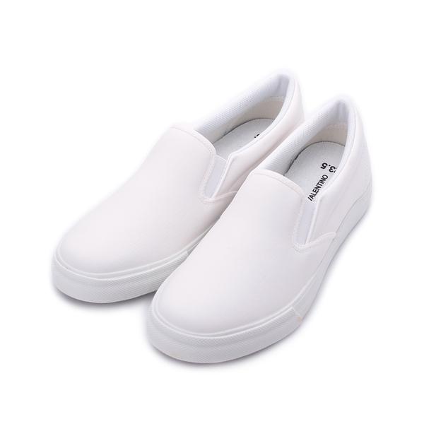 GIOVANNI VALENTINO 素色仿皮套式休閒鞋 白 GV8512 女鞋