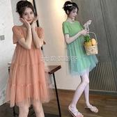 孕婦洋裝 洋氣孕婦洋裝夏短袖小清新純棉中長款夏裝仙女a字裙子網紅(快速出貨)