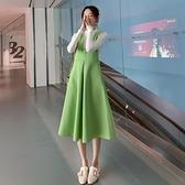 孕婦秋裝套裝時尚法國小眾毛呢秋冬連衣裙長款洋氣打底毛衣兩件套 優拓