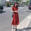 襯衫洋裝 紅色短袖連身裙女夏季2021年...