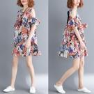 大尺碼洋裝 女裝胖mm夏裝洋氣遮肚子連衣裙寬鬆圓領露肩娃娃裙子減齡顯瘦 降價兩天