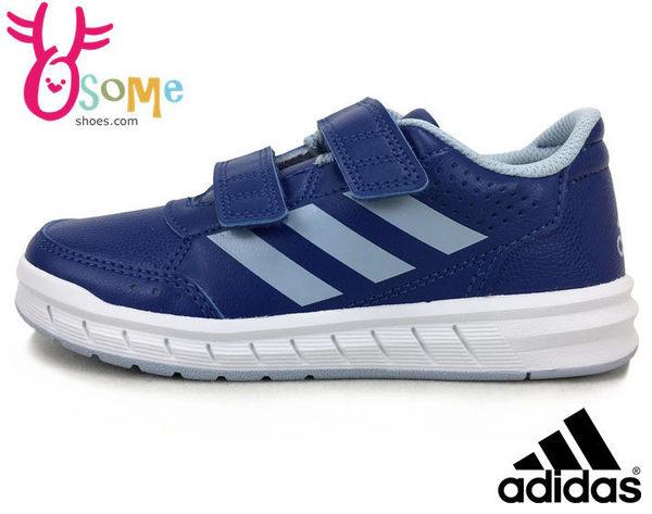 ADIDAS 男童運動鞋 皮面 防潑水 內裡透氣 魔鬼氈 休閒慢跑鞋N9370#藍色◆OSOME奧森童鞋/小朋友